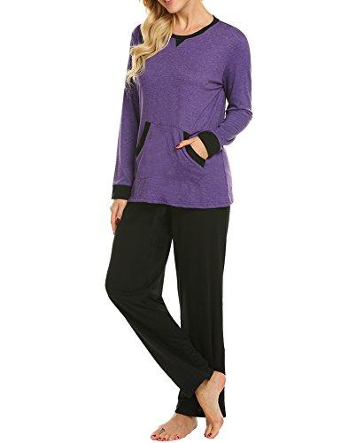 MAXMODA Soft Pajamas Long Sleeve Sleepwear Soft PJ Set with Pants Purple L by MAXMODA (Image #4)