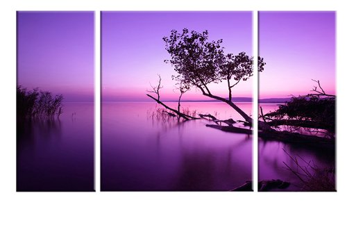 Wieco Art 3 Piece Purple Lake Canvas Prints Wall Art Grace Pictures Paintings Ready to Hang for Living Room Bedroom Home Decorations Modern Stretched and Framed Contemporary Landscape Giclee Artwork