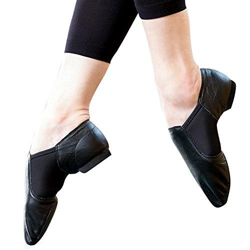 STELLE Slip-on Jazz Shoes for Women Men Teens (Women 9M, Black) by STELLE (Image #2)