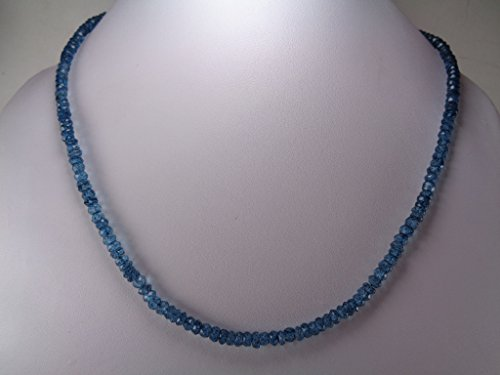 Genuine London Blue Topaz Faceted Beads Necklace, 18 Inches Necklace, November Birthstone Jewelry Blue Topaz Bead Necklace