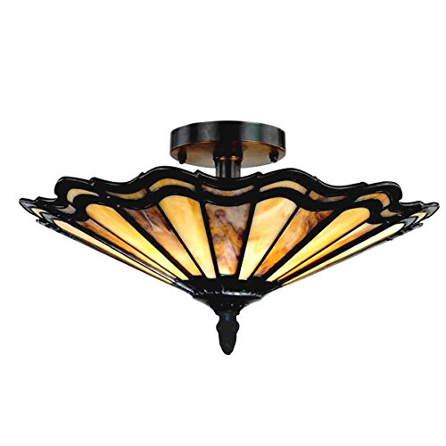 Chloe Lighting CH14003AM16-UF2 Heidi Tiffany-Style Semi-Flush Ceiling Fixture with 16