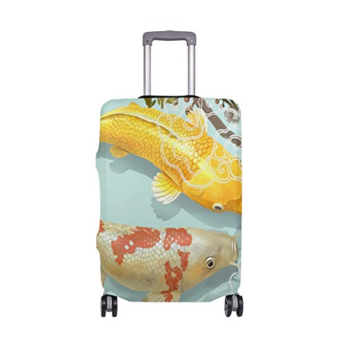 Koi Fish In The Pond Suitcase Protector Cover Elastic Travel Luggage Covers For Adult Women Men Teen Children 26-28 Inch L