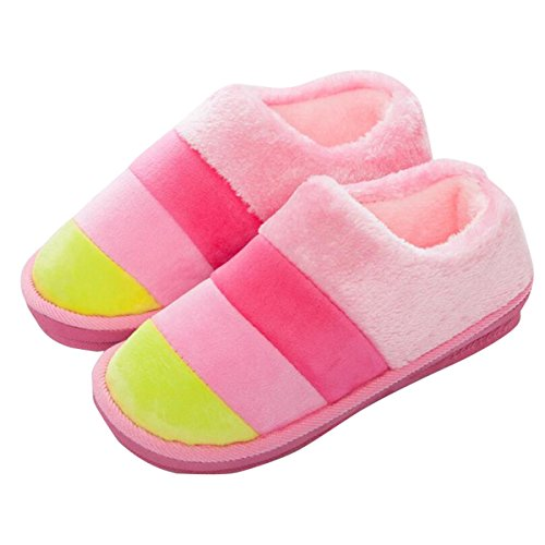 Dear Time Suede Slip on Slippers Plush Flat Closed Toe Clog Indoor and Outdoor Shoes with Non-Slip Sole Pink