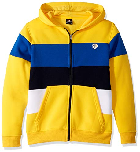 - Southpole - Kids Boys' Big Zip Sweater, Yellow Color Block Fleece, Large
