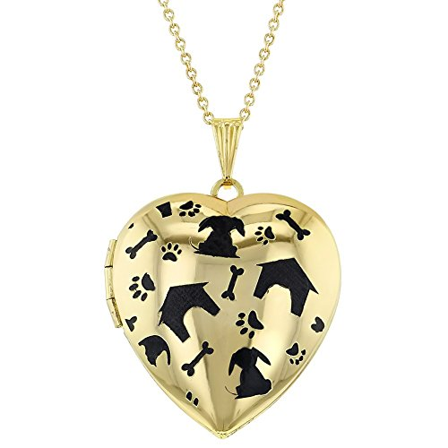 Price comparison product image In Season Jewelry Gold Tone My Dog Puppy Bone Paw Heart Photo Locket Pendant Necklace 19""
