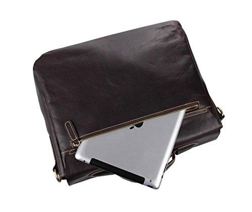 FRAZILL Herren Leder Aktentasche Herren Handtaschen Herren Umhängetasche Herren Laptop Tasche Hohe Qualität JM7108 (Braun) Kaffee sKNDoM