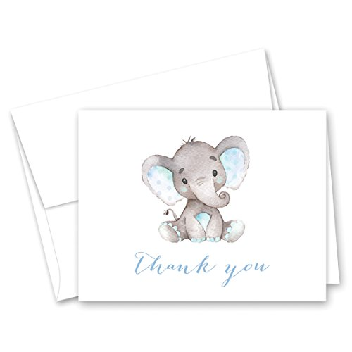 Blue Watercolor Elephant Thank You Cards and Envelopes - 50 cnt