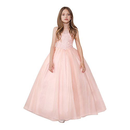 Calla Collection Little Girls Blush Glittery Embroidery Pageant Dress 3 by Calla Collection USA