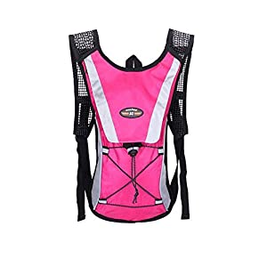 OCSOSO Cycling Hiking Backpack with 2L Water Bladder Bike Bag Climbing Pouch Hydration Pack Pink