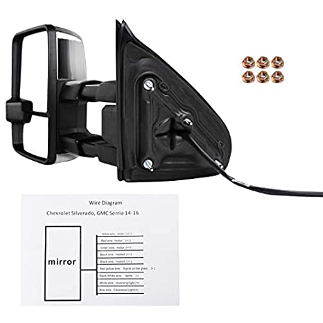 amazon com: chevy silverado gmc sierra power folding+heat extended tow  mirrors w/led signal: automotive