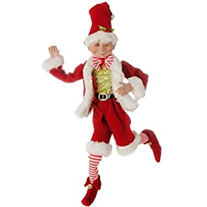 16 inch Posable Elf in Santa Outfit Christmas Decor by Raz Imports 1