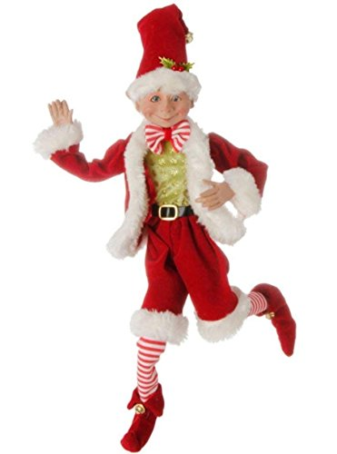 16 inch Posable Elf in Santa Outfit Christmas Decor by Raz Imports -