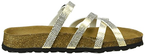Betula Damen Stripes Cross Buckle Pantoletten Gold (BF Mirror Gold)