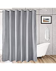 Fabric Shower Curtain Liner, Hotel Bath Curtain with Hooks, Waterproof