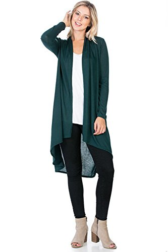 Modern Kiwi Solid Essential Long Cascading Cardigan Hunter Green Large