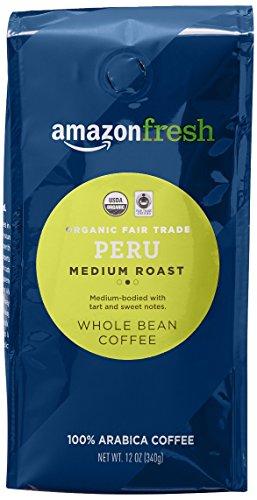 AmazonFresh Fair Trade Organic Peru Coffee, Medium Roast, Whole Bean, 12 Ounce