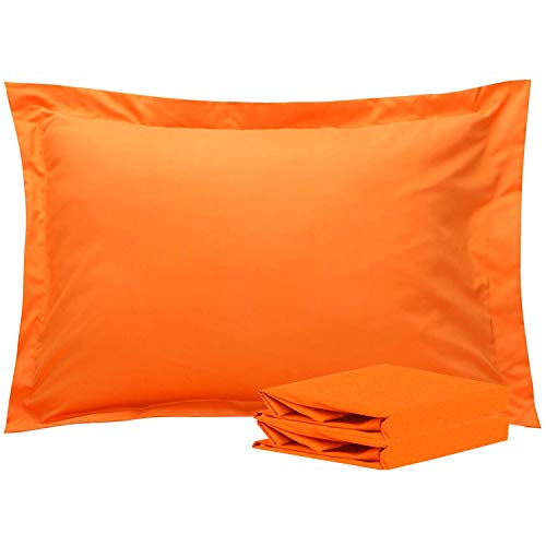 NTBAY Standard Pillow Shams, Set of 2, 100% Brushed Microfiber, Soft and Cozy, Wrinkle, Fade, Stain Resistant, Standard, Orange ()
