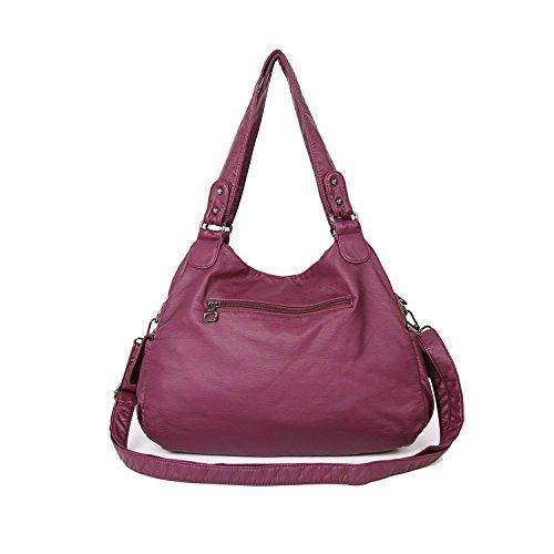 Sac en Imperméable Main Lavé 4 Cuir violet Femme Rétro Loisir à Rouge rHwpx7r
