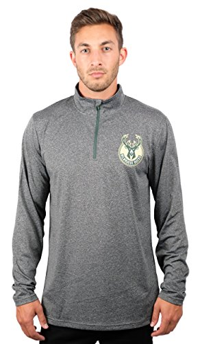 UNK NBA Adult Men Quarter Zip Pullover Shirt Athletic Quick Dry Tee, Charcoal, Heather, X-Large