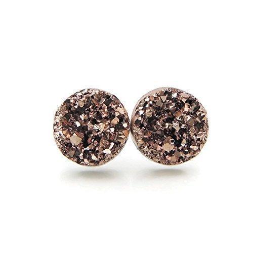 - Faux Druzy Stone Earrings Hypoallergenic Metal-Free Plastic Posts, Rose Gold-Tone, 12mm