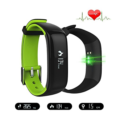 Smart Band Watchband Health Fitness Tracker with Heart Rate Monitor and Blood Pressure Sports Smart Wristband Pedometer Smart Bracelet Bluetooth Smart Watch For IOS Android Phone (Green) by Tibang Fitness