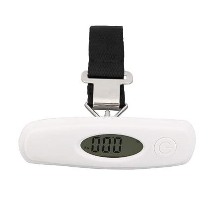 Everpert 50kg/10g Báscula Digital de Precisión Balanza Electrónico de Mano para Viaje (Blanco