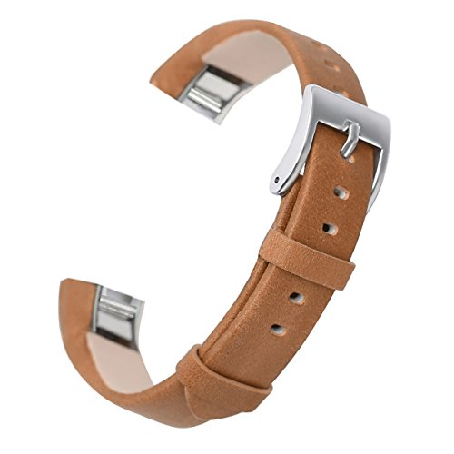 bayite Replacement Leather Watch Bands for Fitbit Alta HR and Alta Light Brown
