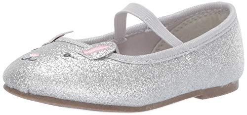 (carter's Girls' Lula Glitter Ballet Flat, Silver, 10 M US Toddler)