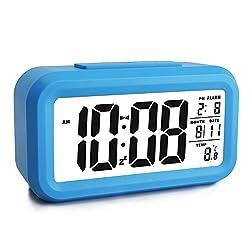 Ewtto Smart Digital Desktop Large LCD Display Alarm Clock with Calendar Temperature Snooze Backlight 4.6'' Display (Blue, 4.6inches)