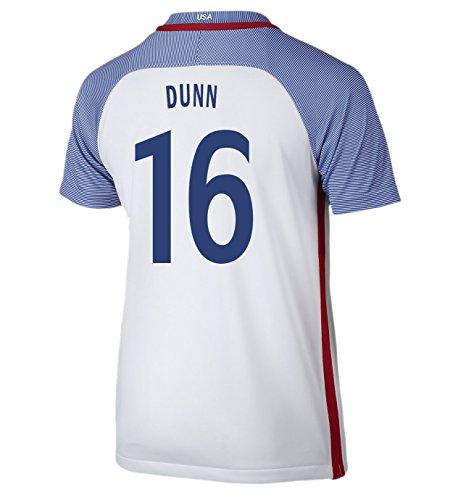 (Nike Dunn #16 USA Home Soccer Jersey Rio 2016 Olympics Youth. (YXS) White)