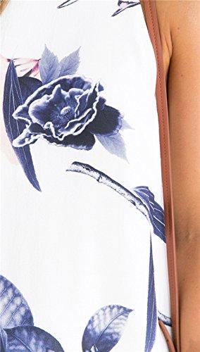 SKY Celebrate for the Summer Day !!! Mujeres Lotus Impreso vestido del arnés Tethers Floral Printed Bodycon Short Mini Dress Blanco