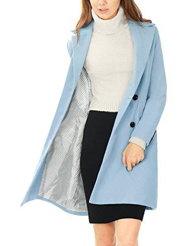 Allegra Muescas para con Azul De Trinchera Abrigo Gabardina De Botones K Mujer Doble Solapa Hilera rZ74qrFc
