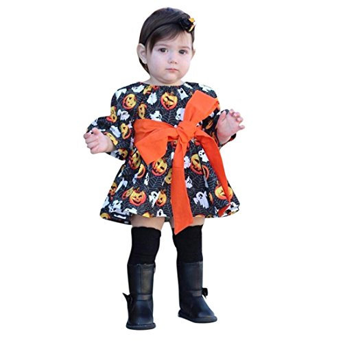 Halloween Dresses for Girls Toddler Infant Pumpkin Ghost Print Bow Outfits Party Show Costume Fancy Creative Cosplay (Black, 5T) ()