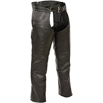 Event Biker Leather Mens Buffalo Split Leather Plain Lined Chaps EL1101-BLK-7X Black, 7X-Large