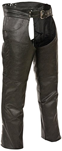 Event Biker Leather Men's Buffalo Split Leather Plain Lined Chaps (Black, X-Large) by Event Biker Leather