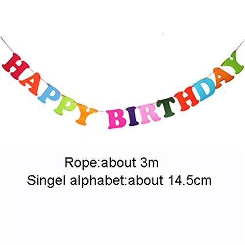 DIY Non-Woven Fabric Happy Birthday Decor Bunting Banner Letter Hanging Boy Girl Banner Baby Shower Kids Favors Party Supplies happy brithday ()
