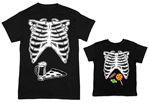 HAASE UNLIMITED Skeleton Ribcage Beer & Pizza/Candy 2-Pack Toddler & Men's T-Shirt (Black/Black, X-Large/3T) ()