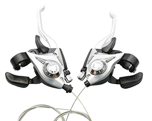 Shimano ST-EF51 / ST-EF500 3x7 Speed Shifter MTB Bike Brake Lever Combo with Inner Shift Cables (1 Pair, Silver, 2-Finger)