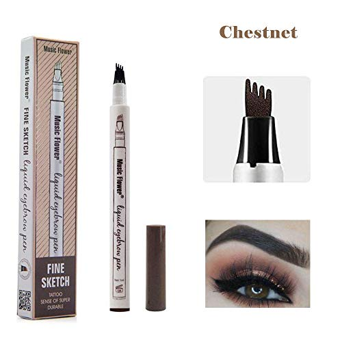 Yuxuan Eyebrow Tattoo Pen Microblading Eyebrow Pencil with a Micro-Fork Tip Applicator Creates Natural Looking Brows Effortlessly and Stays on All Day(1 pcs/set.Chestnut)