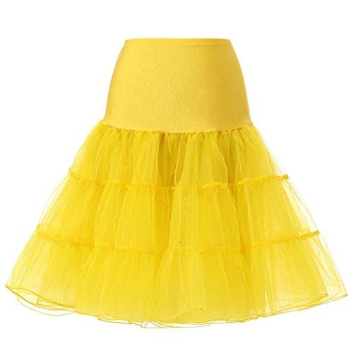 Corset Crinoline (Blidece Women's Plus Size 50s Vintage Tutu Skirt Petticoat Rockabilly Crinoline Underskirt Yellow XL)