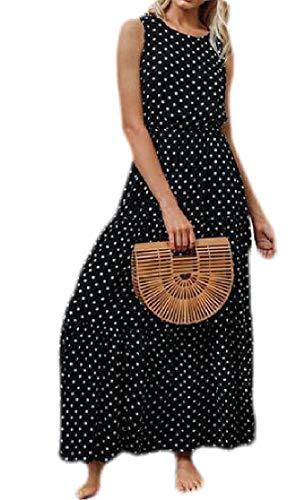 Joe Wenko Womens Casual Summer Sleeveless Maxi Polka Dots Slim Dresses Black XS