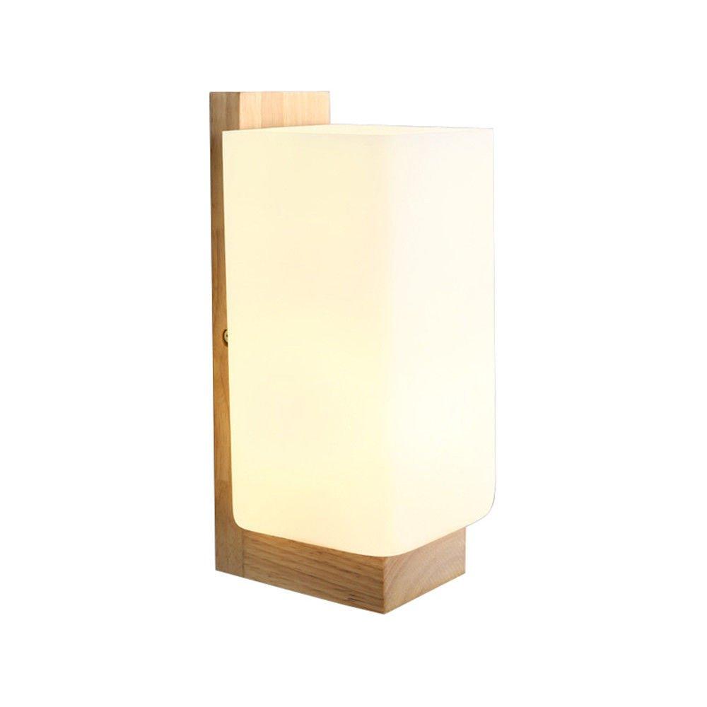 SiwuxieLamp Wandleuchte Nordic Holz Kunst Glas kreative Wohnzimmer Schlafzimmer Nachttischlampen (5B70) Halterung Licht