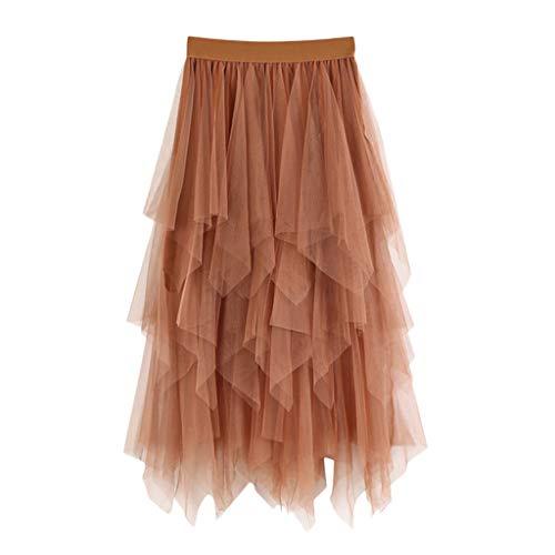 RAINED-Women Elastic Waist Long Skirt Solid Pleat Skirt Vintage Loose Maxi Skirt Casual Flowy Dress Knee Length Skirt