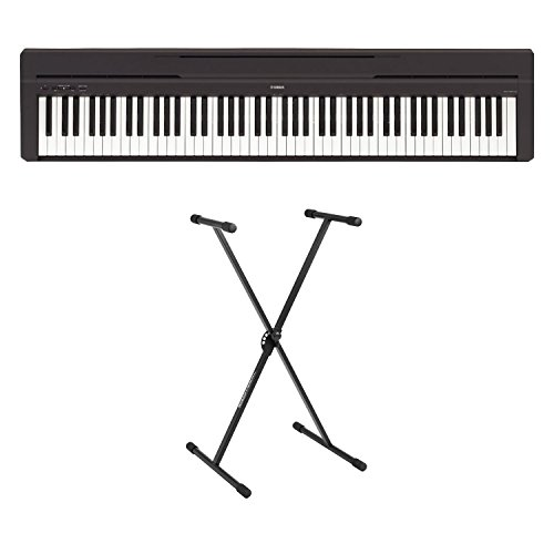 Yamaha P-45 88-Key Weighted Action Digital Piano Blac with stand