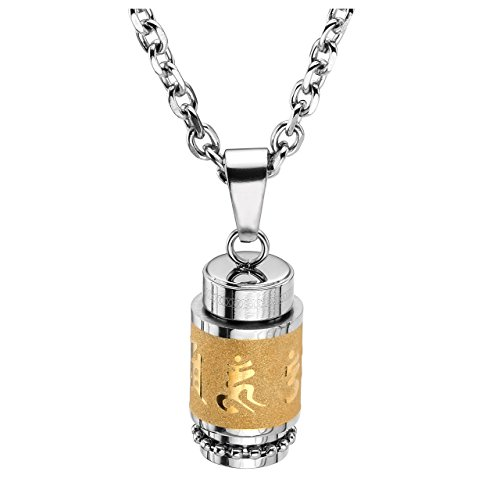 JOVIVI Stainless Steel Buddhist Om Mani Padme Hum Prayer Wheel Mantra Bottle Keepsake Urn Necklace Memorial Jewelry