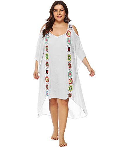 77329bc0fd sanatty Women Bathing Suit Cover Ups Swimsuit Coverups Dress Cotton Crochet  Bikini Beach Cover Ups (White-Plus)