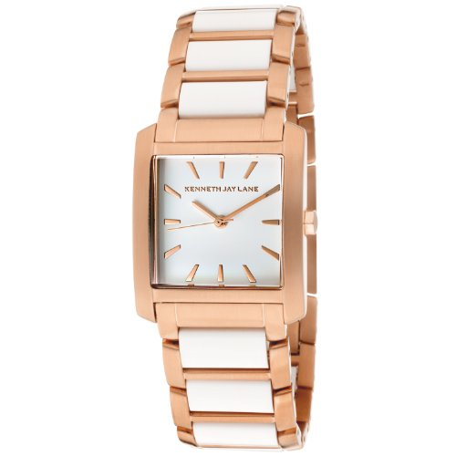 Plated Square Dial (Kenneth Jay Lane Women's KJLANE-1612  White Dial Rose Gold Ion-Plated Stainless Steel and White Resin Watch)