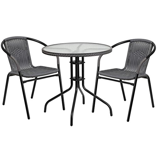 MFO 28'' Round Glass Metal Table with Gray Rattan Edging and 2 Gray Rattan Stack Chairs
