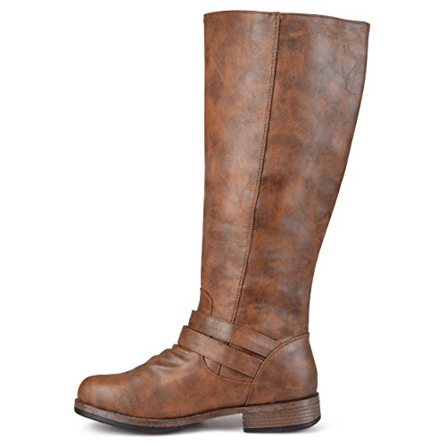 Journee Collection Womens Regular Wide-Kalb und Extra Wide Calf Side Zip Schnalle Kniehohe Reitstiefel Braun