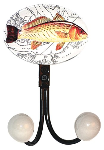 (Charleston Knob Company EE-403-D One Pewter with Glass Inlay Double Hook, Charleston Fish)